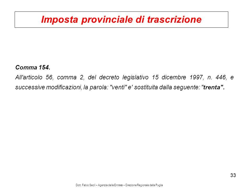 33 Imposta provinciale di trascrizione Comma 154.