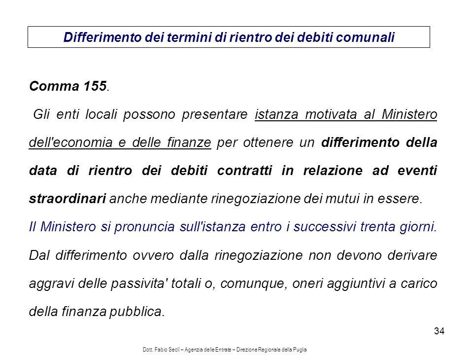 34 Differimento dei termini di rientro dei debiti comunali Comma 155.
