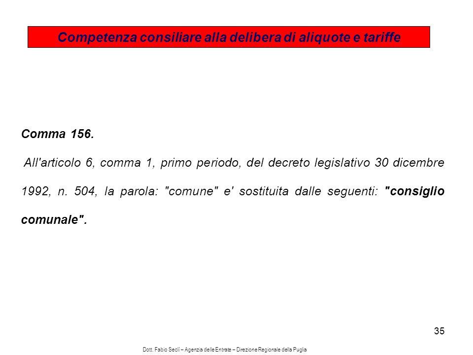 35 Competenza consiliare alla delibera di aliquote e tariffe Comma 156.