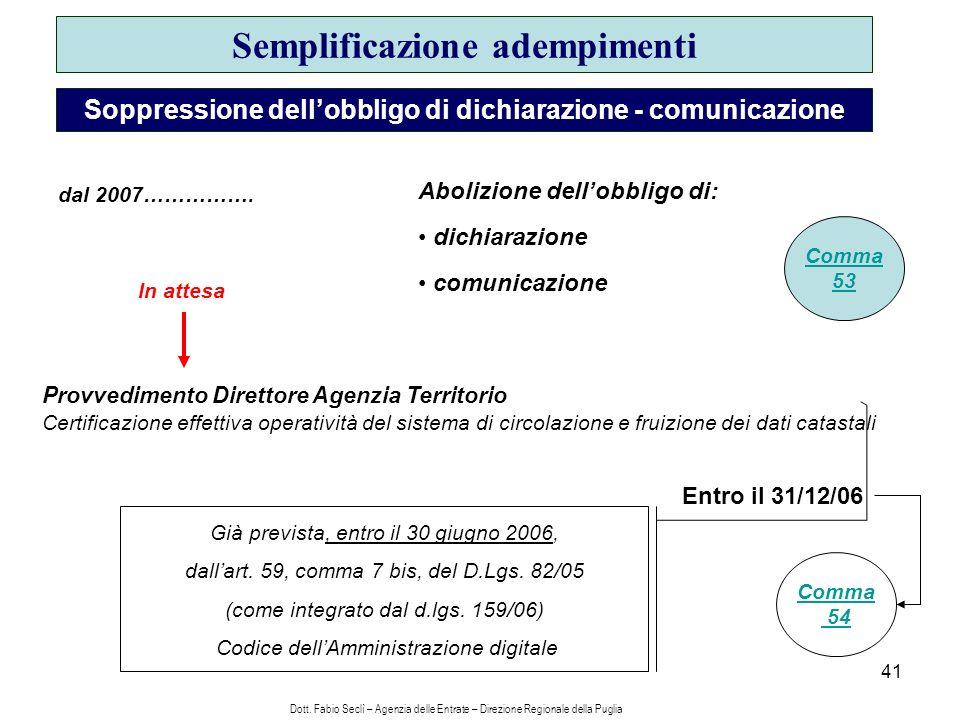 41 Semplificazione adempimenti Soppressione dellobbligo di dichiarazione - comunicazione Già prevista, entro il 30 giugno 2006, dallart.