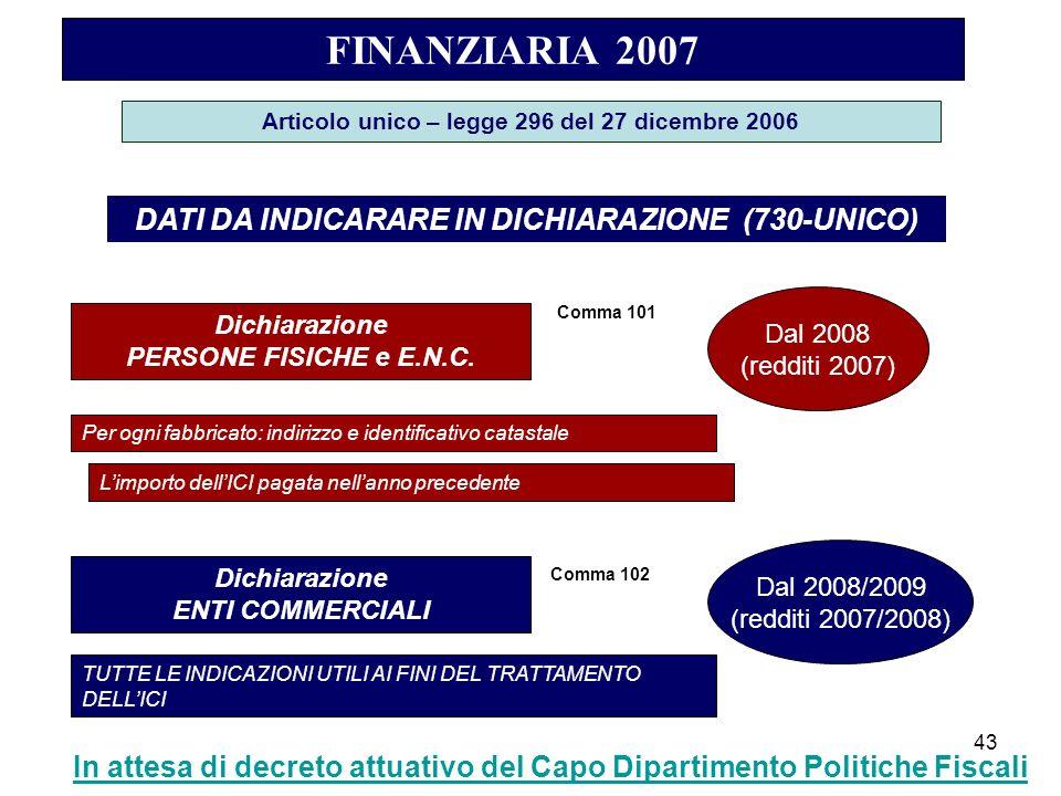 43 FINANZIARIA 2007 Articolo unico – legge 296 del 27 dicembre 2006 DATI DA INDICARARE IN DICHIARAZIONE (730-UNICO) Dichiarazione PERSONE FISICHE e E.N.C.