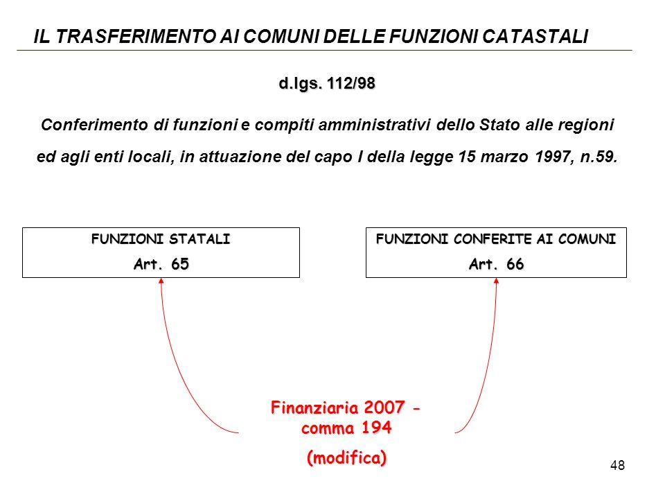 48 IL TRASFERIMENTO AI COMUNI DELLE FUNZIONI CATASTALI FUNZIONI STATALI Art.