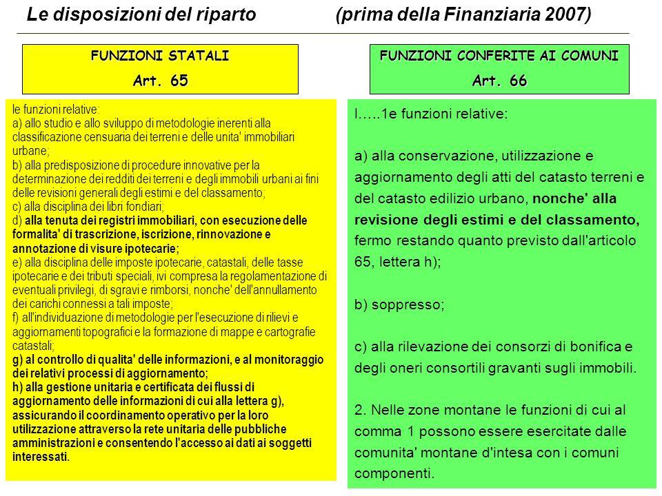 49 Le disposizioni del riparto (prima della Finanziaria 2007) FUNZIONI STATALI Art.