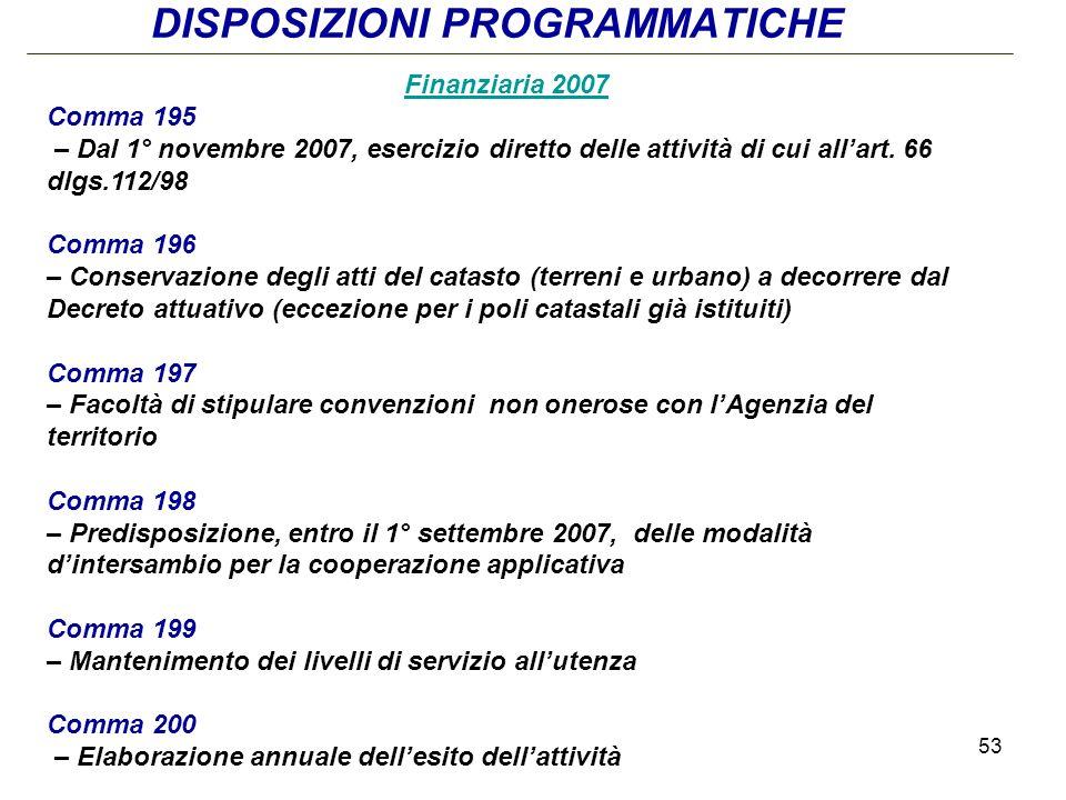 53 DISPOSIZIONI PROGRAMMATICHE Finanziaria 2007 Comma 195 – Dal 1° novembre 2007, esercizio diretto delle attività di cui allart.