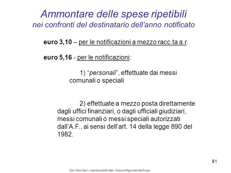 61 euro 3,10 – per le notificazioni a mezzo racc.ta a.r.