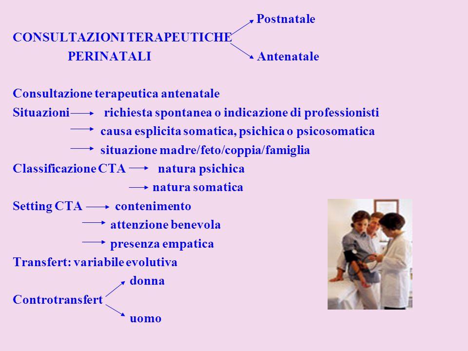 Postnatale CONSULTAZIONI TERAPEUTICHE PERINATALI Antenatale Consultazione terapeutica antenatale Situazioni richiesta spontanea o indicazione di profe