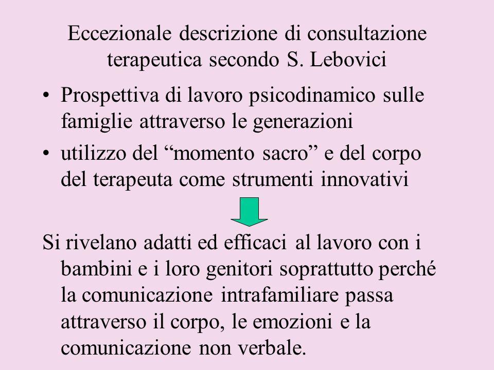 Eccezionale descrizione di consultazione terapeutica secondo S. Lebovici Prospettiva di lavoro psicodinamico sulle famiglie attraverso le generazioni