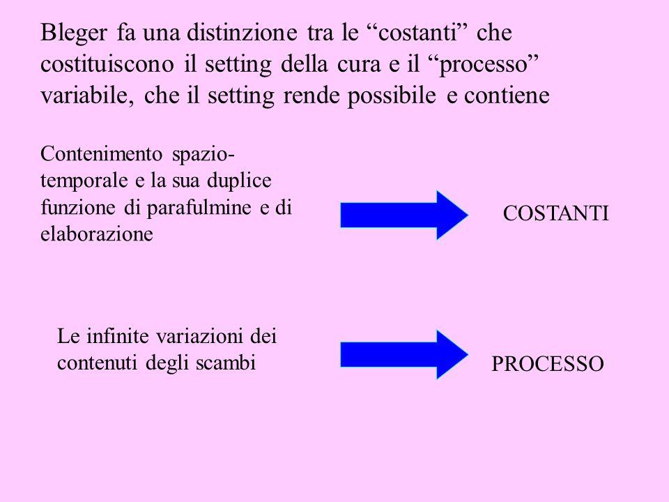 Bleger fa una distinzione tra le costanti che costituiscono il setting della cura e il processo variabile, che il setting rende possibile e contiene C