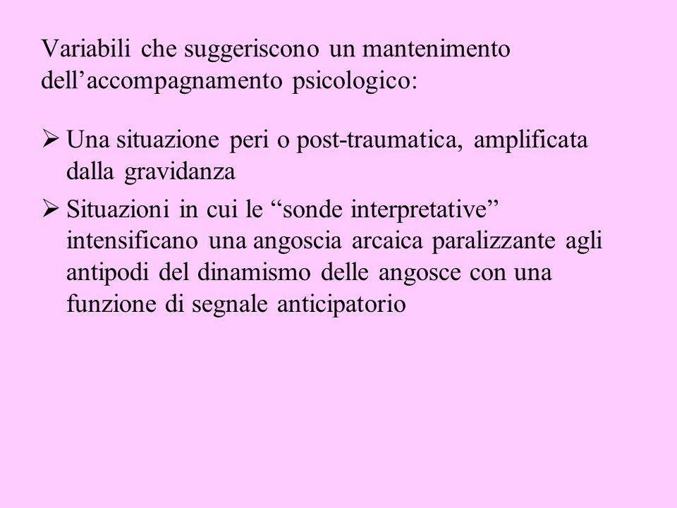 Variabili che suggeriscono un mantenimento dellaccompagnamento psicologico: Una situazione peri o post-traumatica, amplificata dalla gravidanza Situaz