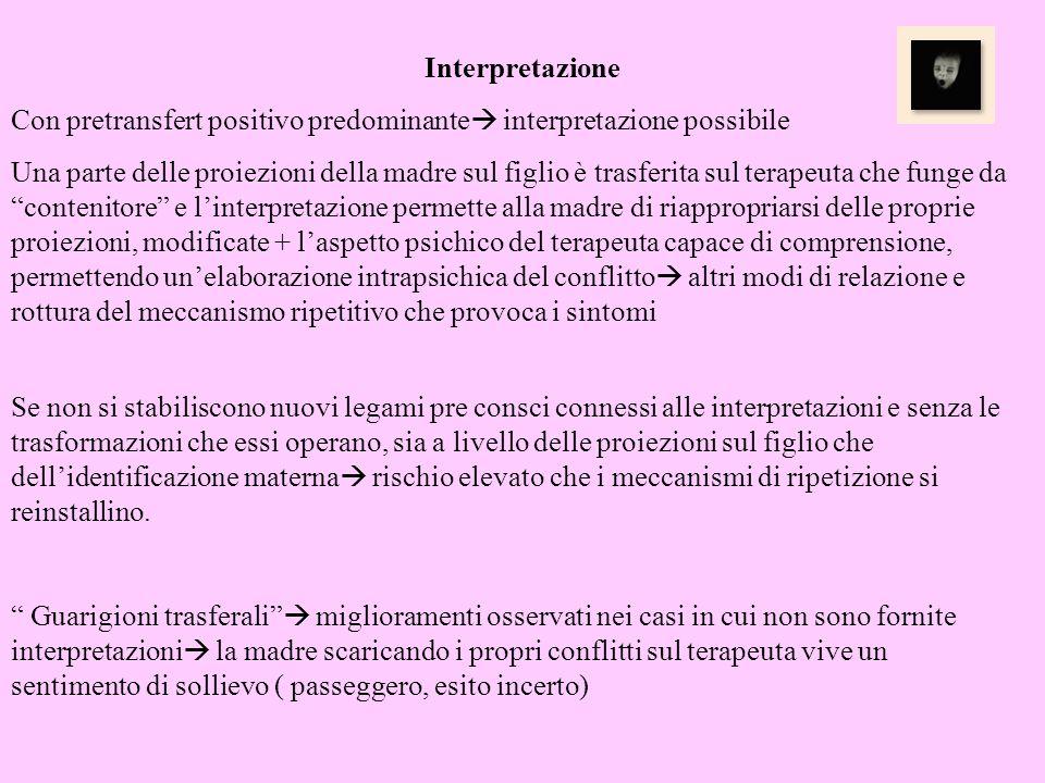 Interpretazione Con pretransfert positivo predominante interpretazione possibile Una parte delle proiezioni della madre sul figlio è trasferita sul te
