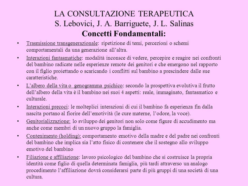 LA CONSULTAZIONE TERAPEUTICA S. Lebovici, J. A. Barriguete, J. L. Salinas Concetti Fondamentali: Trasmissione transgenerazionale: ripetizione di temi,