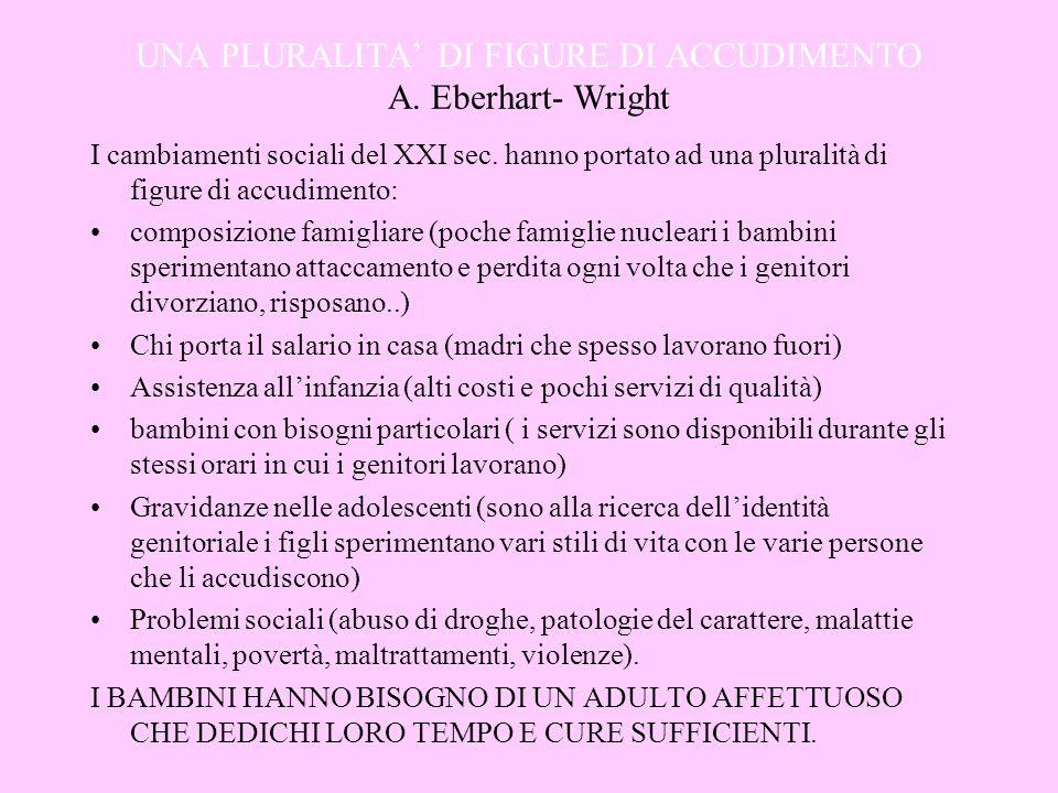 UNA PLURALITA DI FIGURE DI ACCUDIMENTO A. Eberhart- Wright I cambiamenti sociali del XXI sec. hanno portato ad una pluralità di figure di accudimento: