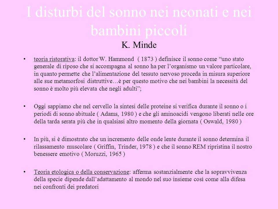 I disturbi del sonno nei neonati e nei bambini piccoli K. Minde teoria ristorativa: il dottor W. Hammond ( 1873 ) definisce il sonno come uno stato ge