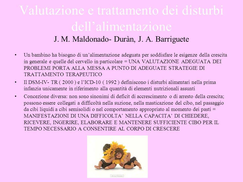Valutazione e trattamento dei disturbi dellalimentazione J. M. Maldonado- Duràn, J. A. Barriguete Un bambino ha bisogno di unalimentazione adeguata pe