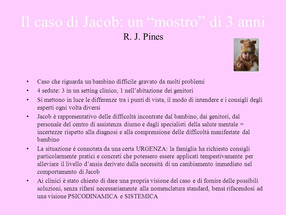 Il caso di Jacob: un mostro di 3 anni R. J. Pines Caso che riguarda un bambino difficile gravato da molti problemi 4 sedute: 3 in un setting clinico,