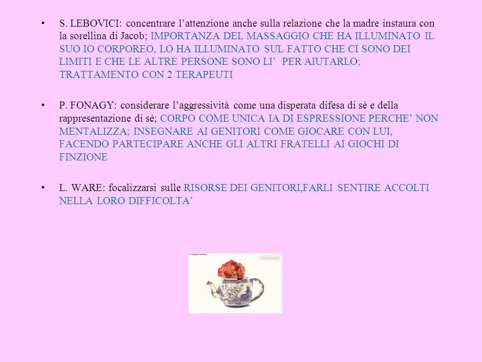 S. LEBOVICI: concentrare lattenzione anche sulla relazione che la madre instaura con la sorellina di Jacob; IMPORTANZA DEL MASSAGGIO CHE HA ILLUMINATO