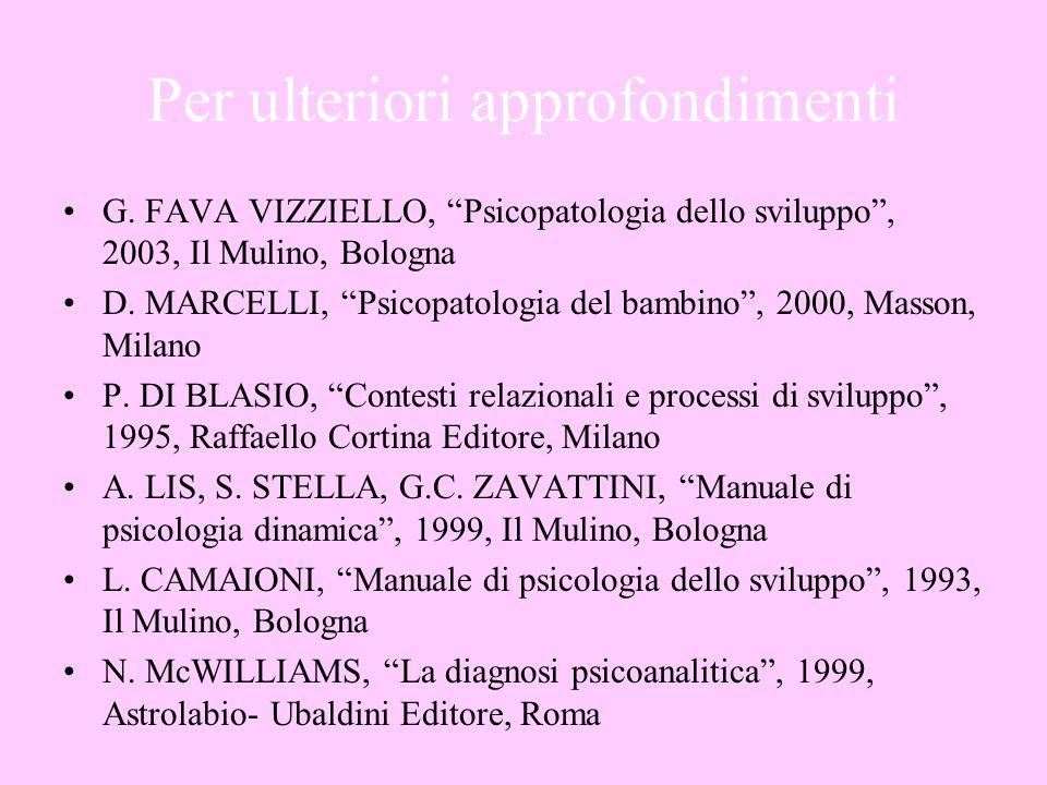 Per ulteriori approfondimenti G. FAVA VIZZIELLO, Psicopatologia dello sviluppo, 2003, Il Mulino, Bologna D. MARCELLI, Psicopatologia del bambino, 2000