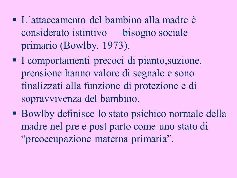 Lattaccamento del bambino alla madre è considerato istintivo bisogno sociale primario (Bowlby, 1973). I comportamenti precoci di pianto,suzione, prens