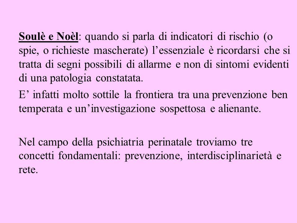 Soulè e Noèl: quando si parla di indicatori di rischio (o spie, o richieste mascherate) lessenziale è ricordarsi che si tratta di segni possibili di a