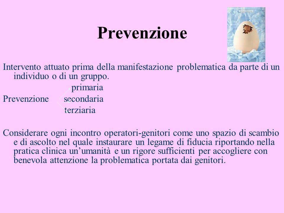 Prevenzione Intervento attuato prima della manifestazione problematica da parte di un individuo o di un gruppo. primaria Prevenzione secondaria terzia