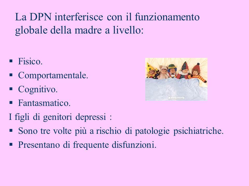 La DPN interferisce con il funzionamento globale della madre a livello: Fisico. Comportamentale. Cognitivo. Fantasmatico. I figli di genitori depressi