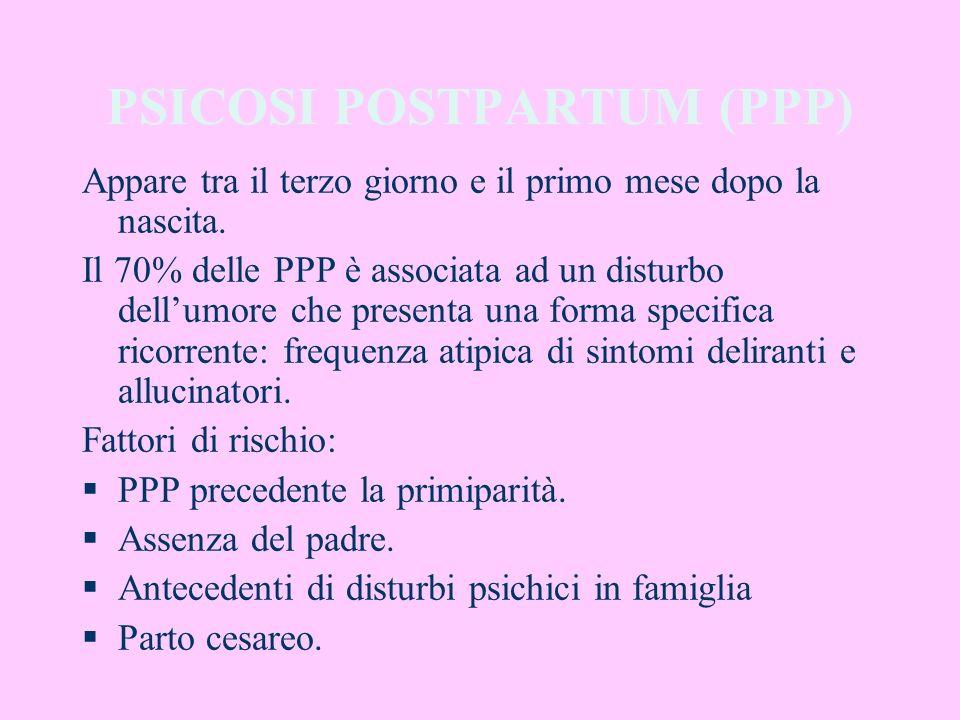 PSICOSI POSTPARTUM (PPP) Appare tra il terzo giorno e il primo mese dopo la nascita. Il 70% delle PPP è associata ad un disturbo dellumore che present