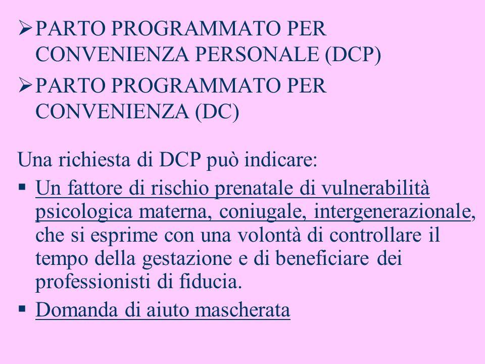 PARTO PROGRAMMATO PER CONVENIENZA PERSONALE (DCP) PARTO PROGRAMMATO PER CONVENIENZA (DC) Una richiesta di DCP può indicare: Un fattore di rischio pren