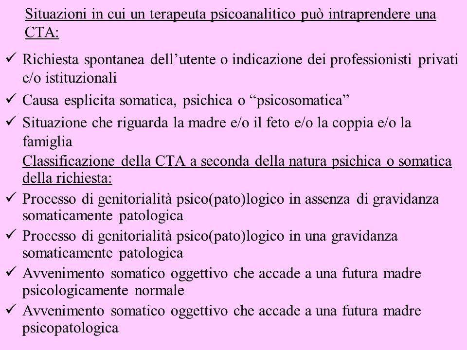 Situazioni in cui un terapeuta psicoanalitico può intraprendere una CTA: Richiesta spontanea dellutente o indicazione dei professionisti privati e/o i
