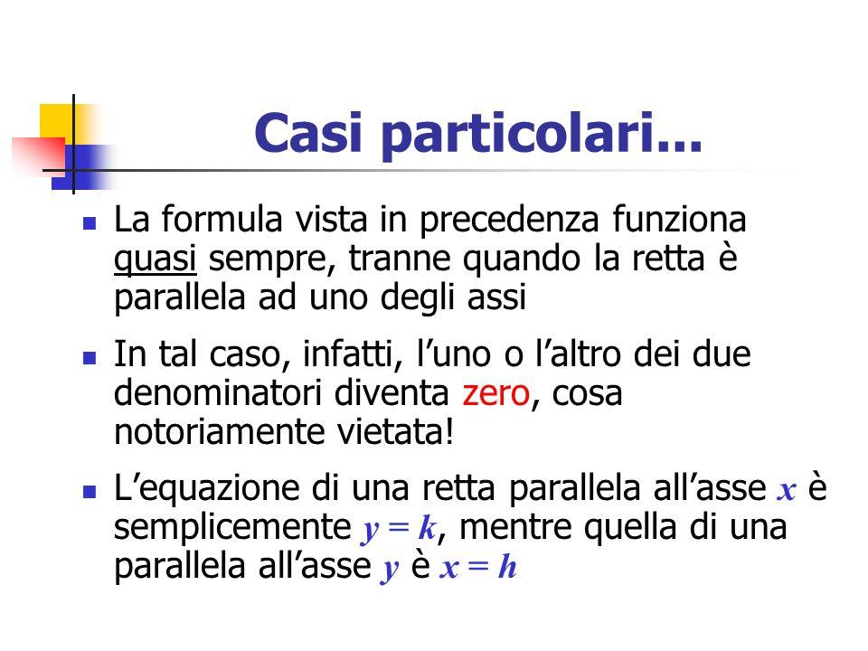 Casi particolari... La formula vista in precedenza funziona quasi sempre, tranne quando la retta è parallela ad uno degli assi In tal caso, infatti, l