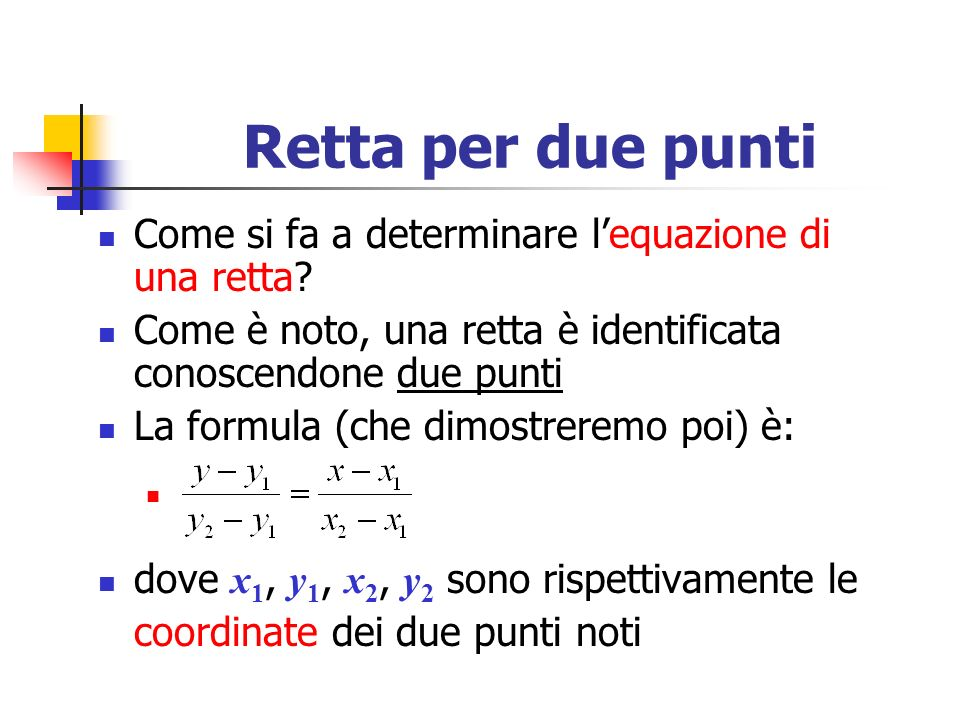 Esempio Troviamo lequazione della retta mostrata in figura, conoscendo i due punti A(0, 3) e B(2, 0):, ossia, da cui, Lequazione esplicita è allora:, che corrisponde a quella riportata in precedenza
