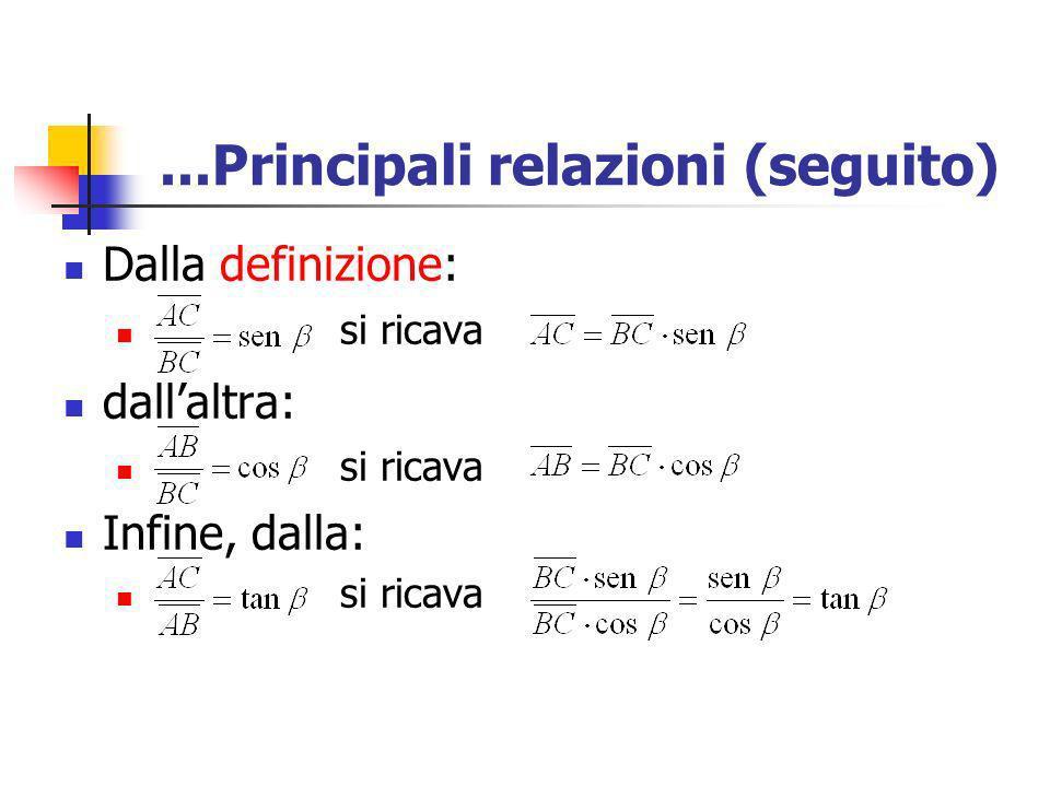 ...Principali relazioni (seguito) Dalla definizione: si ricava dallaltra: si ricava Infine, dalla: si ricava