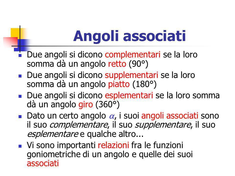 Angoli associati Due angoli si dicono complementari se la loro somma dà un angolo retto (90°) Due angoli si dicono supplementari se la loro somma dà u