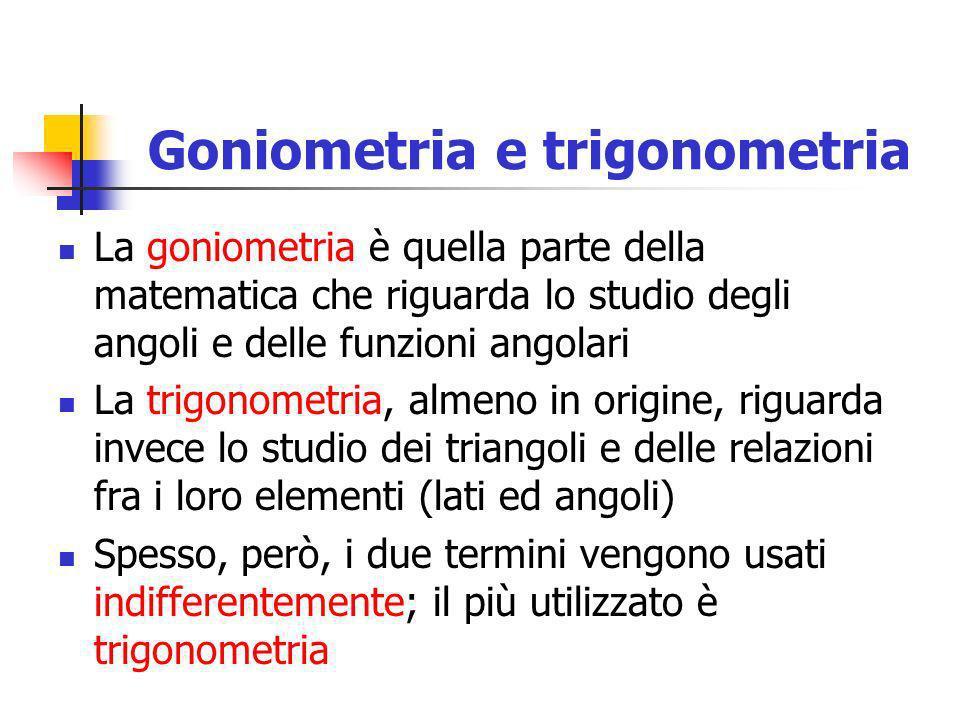 Goniometria e trigonometria La goniometria è quella parte della matematica che riguarda lo studio degli angoli e delle funzioni angolari La trigonomet