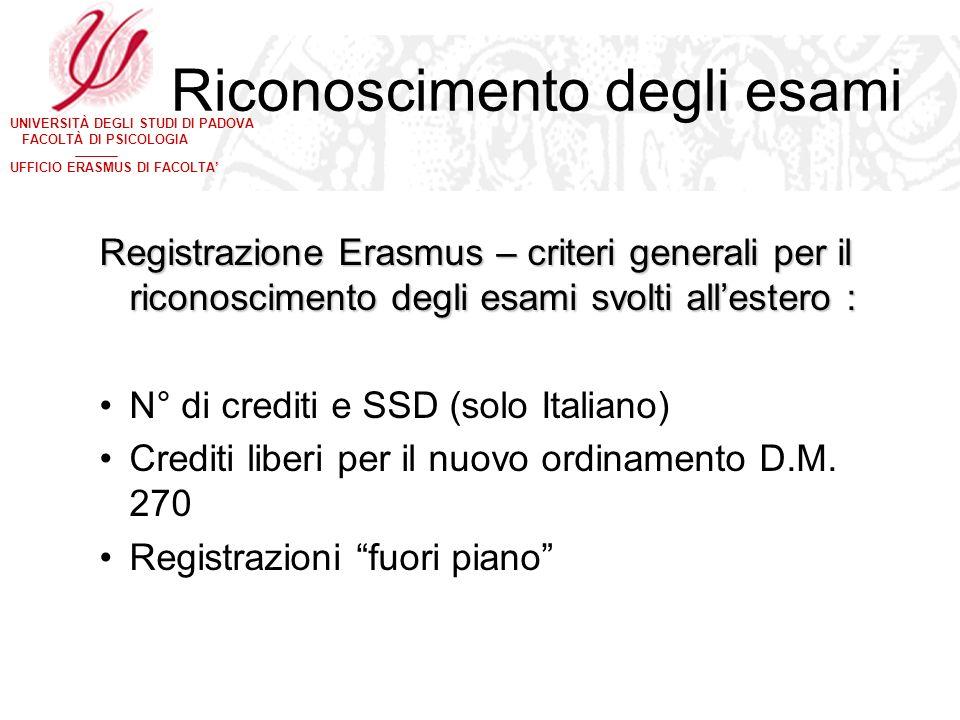 UNIVERSITÀ DEGLI STUDI DI PADOVA FACOLTÀ DI PSICOLOGIA UFFICIO ERASMUS DI FACOLTA Riconoscimento degli esami Registrazione Erasmus – criteri generali