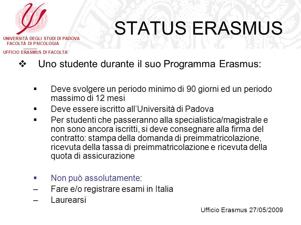 UNIVERSITÀ DEGLI STUDI DI PADOVA FACOLTÀ DI PSICOLOGIA UFFICIO ERASMUS DI FACOLTA STATUS ERASMUS Uno studente durante il suo Programma Erasmus: Deve s