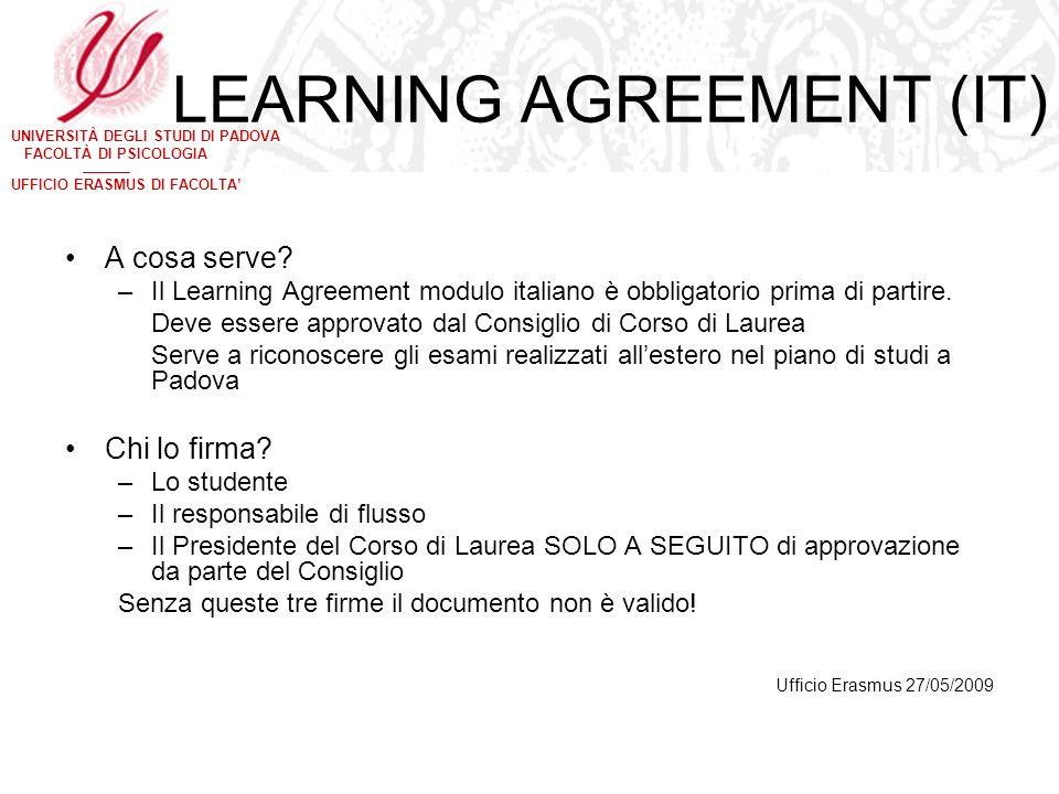 UNIVERSITÀ DEGLI STUDI DI PADOVA FACOLTÀ DI PSICOLOGIA UFFICIO ERASMUS DI FACOLTA LEARNING AGREEMENT (IT) A cosa serve? –Il Learning Agreement modulo