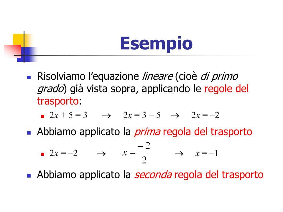 Esempio Risolviamo lequazione lineare (cioè di primo grado) già vista sopra, applicando le regole del trasporto: 2x + 5 = 3 2x = 3 – 5 2x = –2 Abbiamo applicato la prima regola del trasporto 2x = –2 x = –1 Abbiamo applicato la seconda regola del trasporto