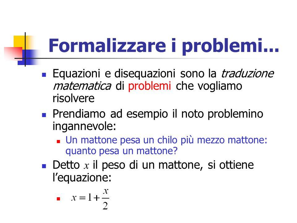 Formalizzare i problemi...