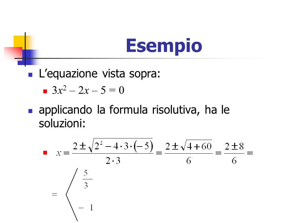 Esempio Lequazione vista sopra: 3x 2 – 2x – 5 = 0 applicando la formula risolutiva, ha le soluzioni: