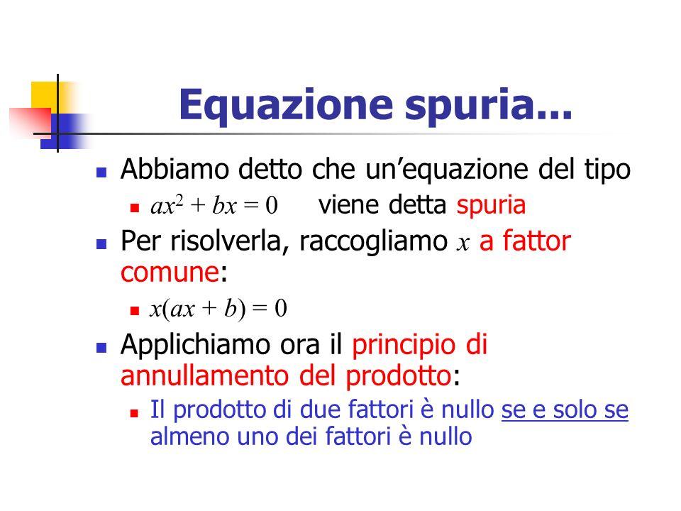 Equazione spuria...