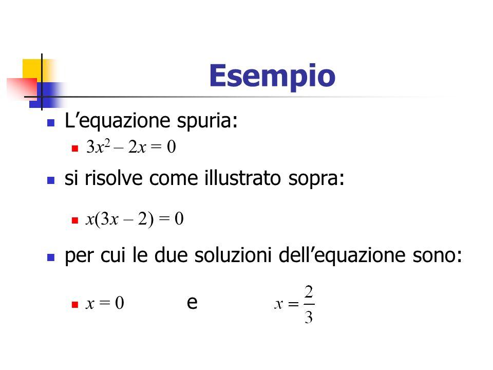 Esempio Lequazione spuria: 3x 2 – 2x = 0 si risolve come illustrato sopra: x(3x – 2) = 0 per cui le due soluzioni dellequazione sono: x = 0 e