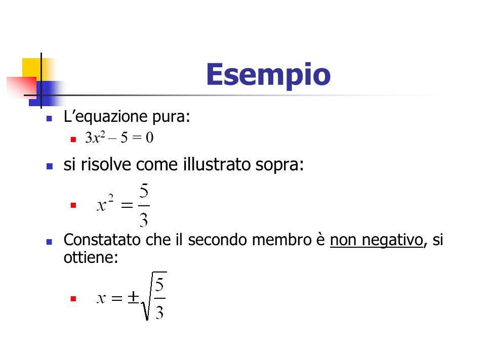 Esempio Lequazione pura: 3x 2 – 5 = 0 si risolve come illustrato sopra: Constatato che il secondo membro è non negativo, si ottiene: