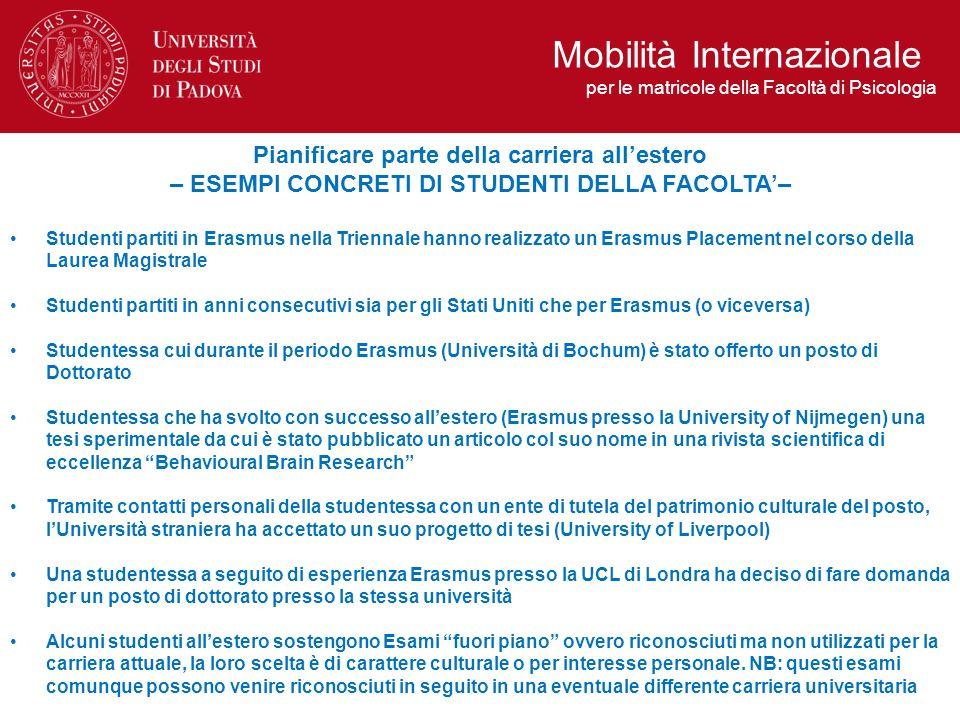 Pianificare parte della carriera allestero – ESEMPI CONCRETI DI STUDENTI DELLA FACOLTA– Studenti partiti in Erasmus nella Triennale hanno realizzato u