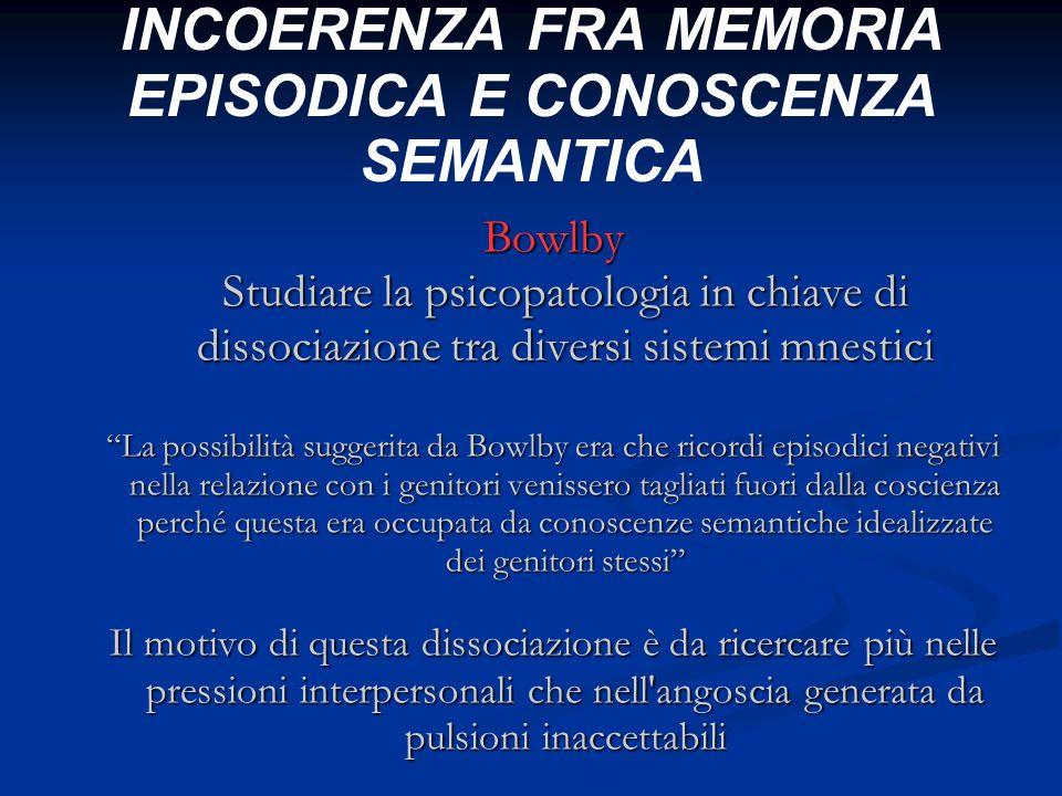 INCOERENZA FRA MEMORIA EPISODICA E CONOSCENZA SEMANTICA Bowlby Studiare la psicopatologia in chiave di dissociazione tra diversi sistemi mnestici La p