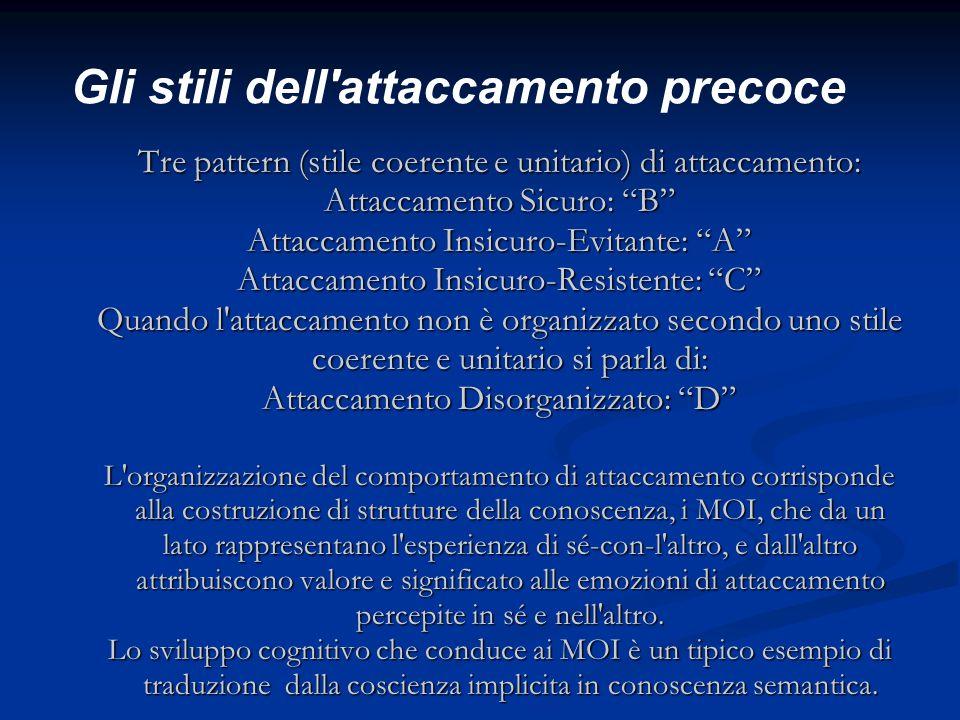 Gli stili dell'attaccamento precoce Tre pattern (stile coerente e unitario) di attaccamento: Attaccamento Sicuro: B Attaccamento Insicuro-Evitante: A