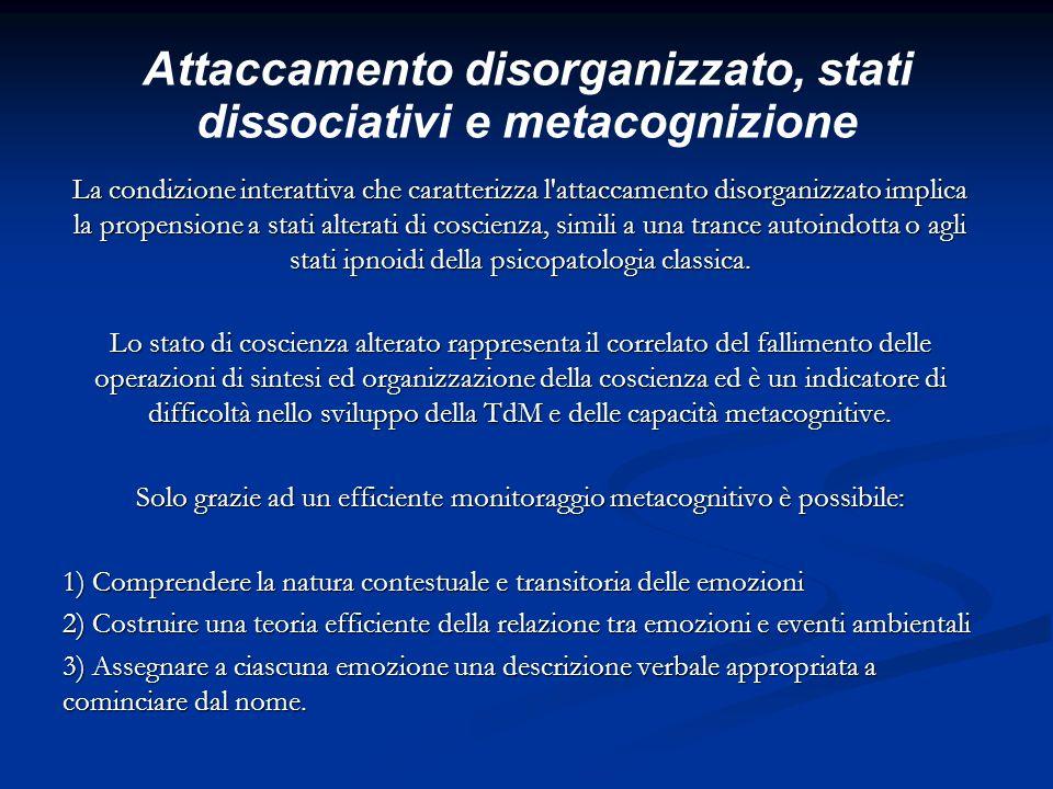 Attaccamento disorganizzato, stati dissociativi e metacognizione La condizione interattiva che caratterizza l'attaccamento disorganizzato implica la p