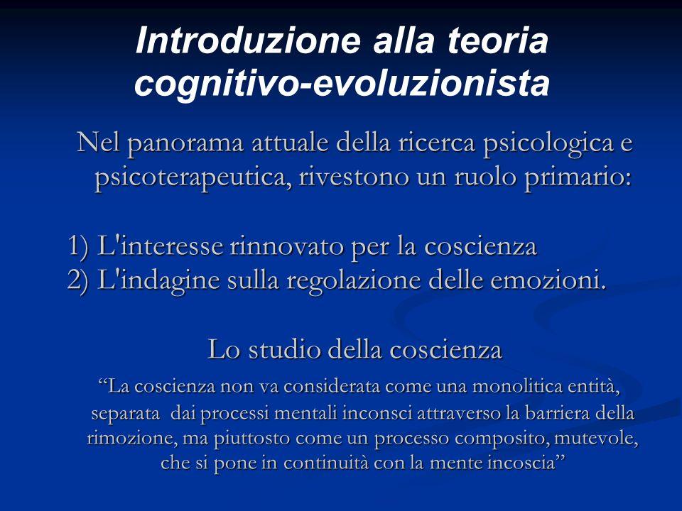 Introduzione alla teoria cognitivo-evoluzionista Nel panorama attuale della ricerca psicologica e psicoterapeutica, rivestono un ruolo primario: 1) L'