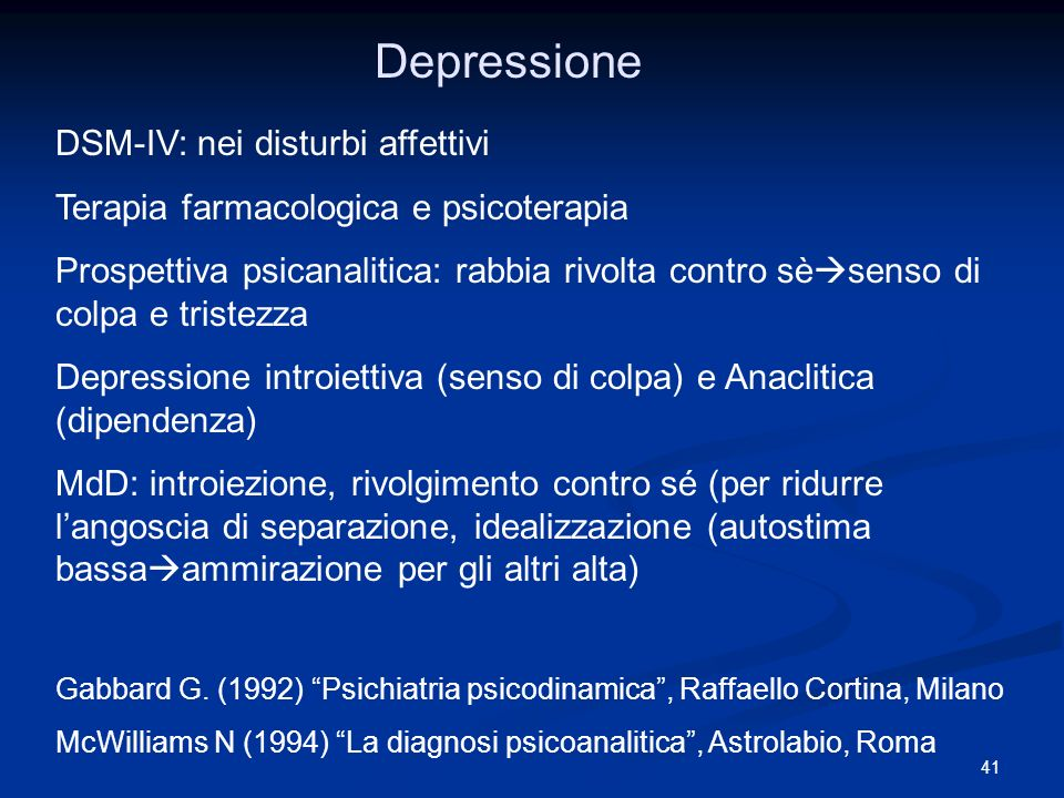 41 Depressione DSM-IV: nei disturbi affettivi Terapia farmacologica e psicoterapia Prospettiva psicanalitica: rabbia rivolta contro sè senso di colpa