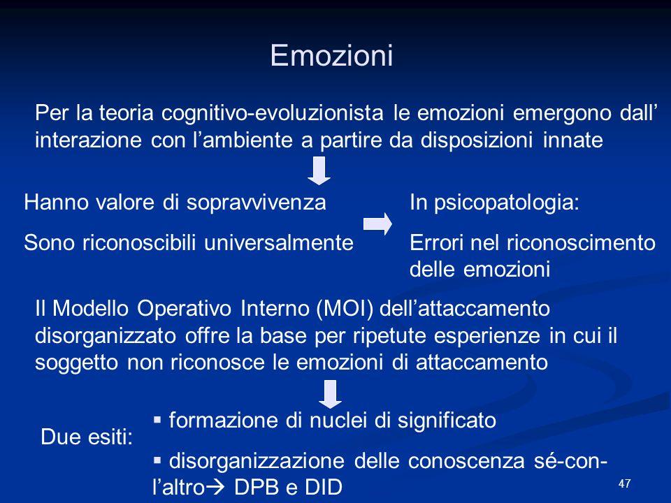 47 Emozioni Per la teoria cognitivo-evoluzionista le emozioni emergono dall interazione con lambiente a partire da disposizioni innate Hanno valore di