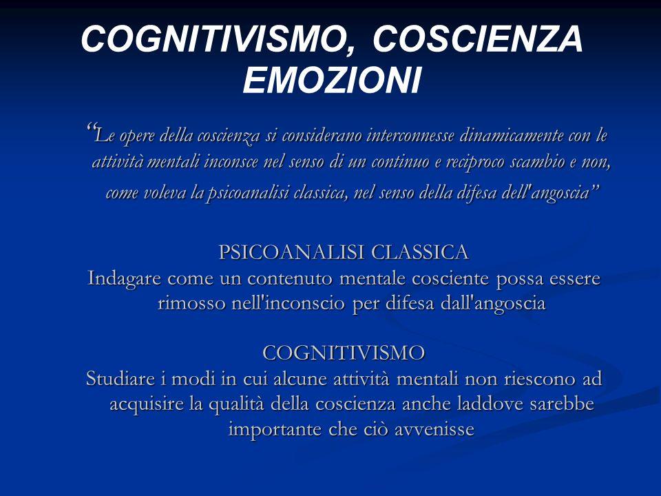 COGNITIVISMO, COSCIENZA EMOZIONI Le opere della coscienza si considerano interconnesse dinamicamente con le attività mentali inconsce nel senso di un